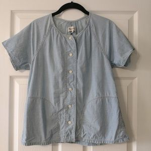 Madewell Short Sleeve Button-Down Blouse, XS